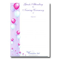 Naming Ceremony Certificate – Balloon Design – Guests Attending