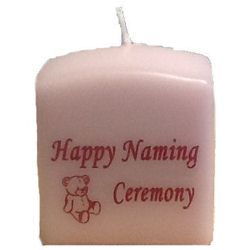 Naming Ceremony Candles Pink – 8cm