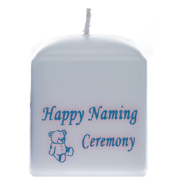 Naming Ceremony Candles White/Blue