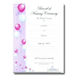 Naming Ceremony Certificate – Balloon Design