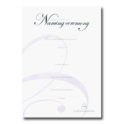 Silver Naming Ceremony Certificate blue