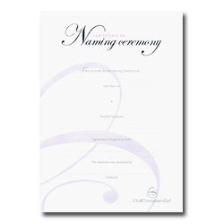 Naming Ceremony Certificate – Silver  –  Girl